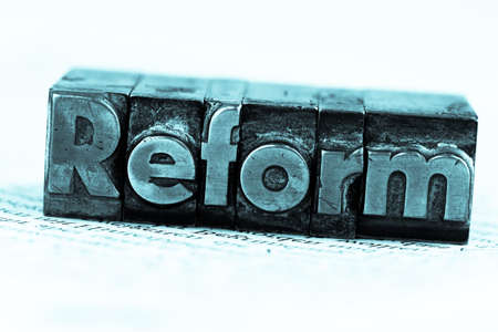 reform: the word reform in lead letters written. symbol photo for quick correspondence Stock Photo