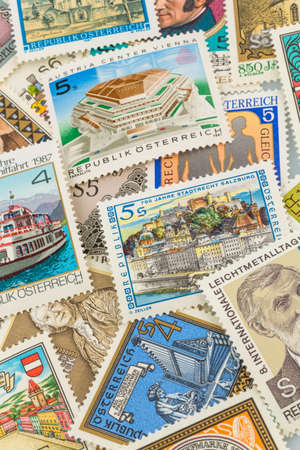 vacate: austrian stamps, symbol photo for collecting, hobby and rarities