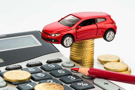Leasing: car and calculator. rising costs for buying a car, leasing, service, refueling and insurance