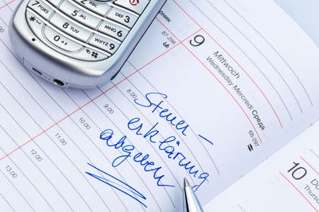 auditors: an appointment is entered in a calendar: tax return