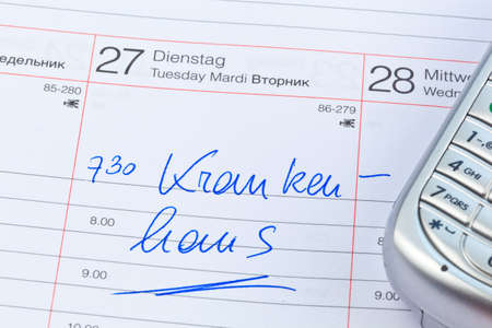klinik: an appointment is entered in a calendar: hospital