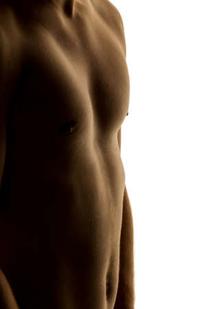 thinness: a man has fallen with a successful diet much body weight. Stock Photo