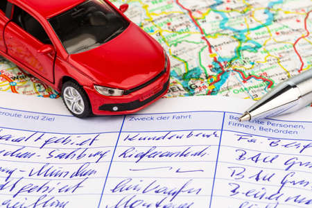 log book: log book for a car. for commuter tax and revenue office. Stock Photo