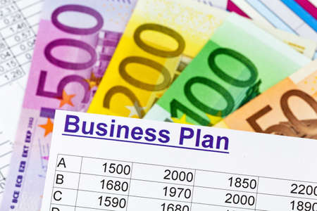 a business plan for starting a business. ideas and strategies for business creation. euro banknotes.