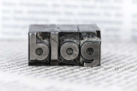 blogging: the word blog written with lead letters. symbol photo for blog