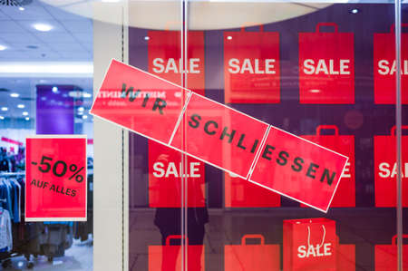 dissolution: a business in a shopping center is closed due to lack of profitability. Stock Photo