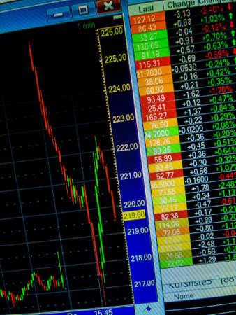 publicly: on the stock market, the share price falls. sharply falling prices of securities. losses of assets in equities. Stock Photo