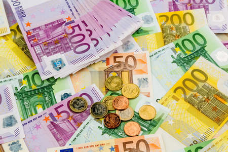 assessment system: many different euro bills. symbol photo for wealth and investment. Stock Photo