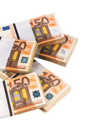 expenditure: stack of many fifty euro bills. symbol photo for money, wealth, income and expenditure