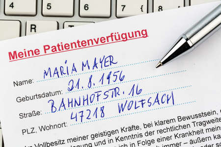 klinik: a living will in german language. instructions for the doctor or hospital in the event of a terminal illness. Editorial