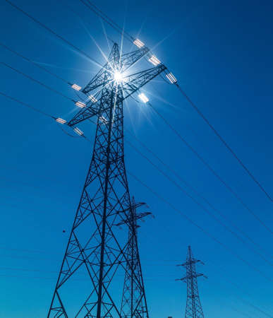 mains: pylon, symbol photo for electricity production, supply and mains Stock Photo