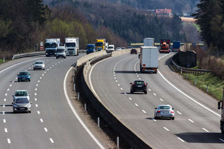 toll: truck on the highway. road transport for goods.