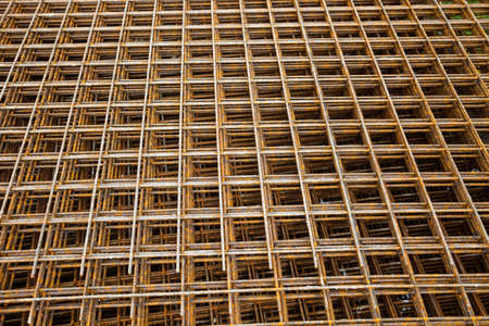 at a construction site are steel mesh to reinforce the bentonplatten photo