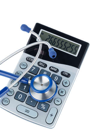 private insurance: stethoscope and calculator, photo icon for billing and medical expenses Stock Photo