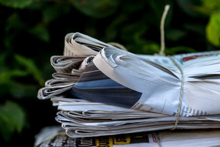 censorship: a stack of old newspapers ready for removal by waste paper disposal Stock Photo
