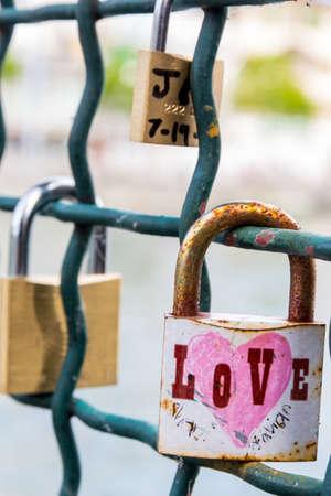 locks: switzerland, zurich, love locks on a bridge