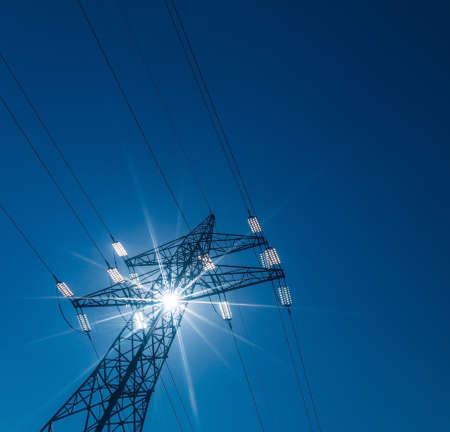 electricity grid: pylon, symbol photo for electricity production, supply and mains Stock Photo