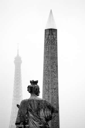 la tour eiffel: paris, france. place de la concorde. obelisk and eiffel tower, the landmark of the city. Stock Photo