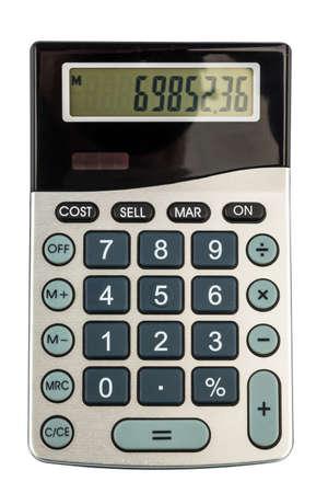 a calculator lies on a white