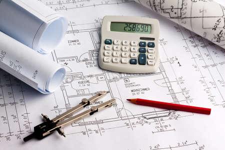 blauwdruk voor een huis. tekeningen en plannen van een architect. Stockfoto
