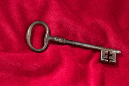 freelancers: a key lying on a red velvet cushion. symbol photo for keys in companies.