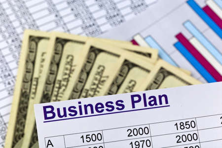 sponsorship: a business plan for starting a business. ideas and strategies for business creation. dollars and calculator