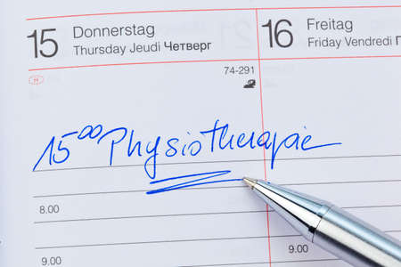 entered: an appointment is entered in a calendar: physiotherapy