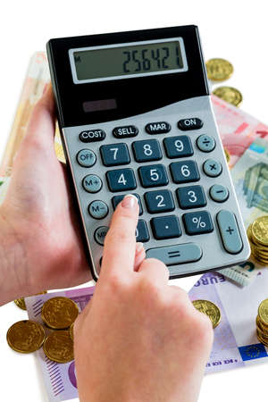 accounted for: hand with calculator and bills. photo icon for revenue, profit, taxes and costing