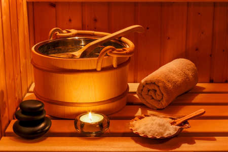 cosy atmosphere in the sauna at a spa area of ??a wellness hotel. recreation and relaxation from everyday life.