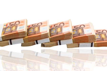 banconote euro: pila di molti cinquanta euro banconote. icona della foto per denaro, la ricchezza, il reddito e le spese