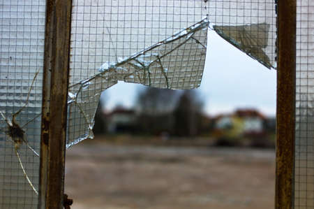 slowdown: damaged glass, crisis and economic slowdown in the industry, vandalism