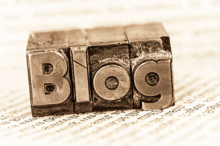 forums: the word blog written with lead letters. photo icon for blog