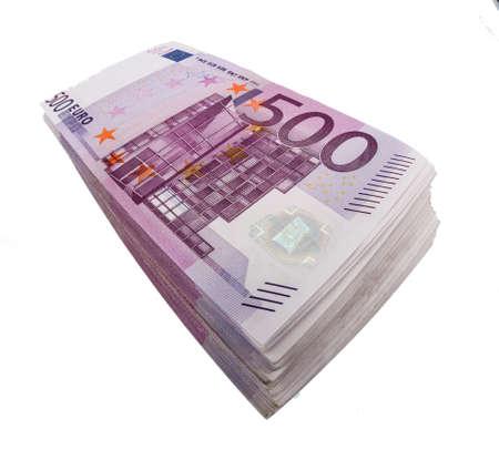 clavados: muchos de quinientos billetes en euros. icono de la foto para la riqueza y la inversión Foto de archivo