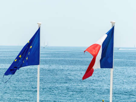 bilateral: flags of eu and france, symbol photo for partnership, diplomacy, foreign policy