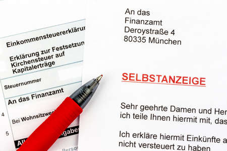 treaties: photo icon for a voluntary due to evasion of taxes by the tax office in germany
