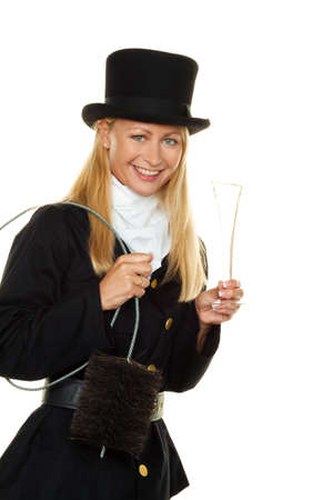 lucky charm: woman as a chimney sweep. lucky charm new years eve and new year. Stock Photo