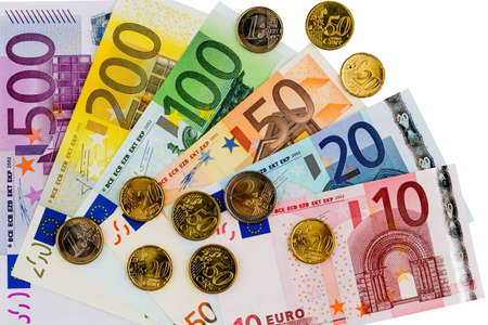 adjacent: euro banknotes are adjacent. photo icon for earnings, sales and cash