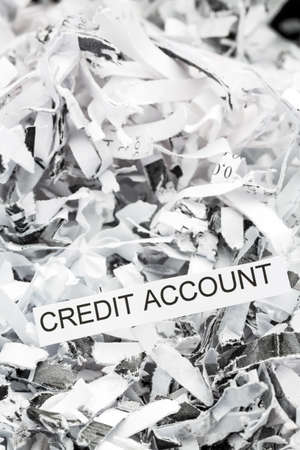 creditworthiness: shredded paper tagged with credit account, symbol photo for data destruction, finance and credit