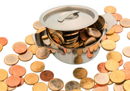 subsidize: a pot is filled with euro coins, symbolic photo for funding
