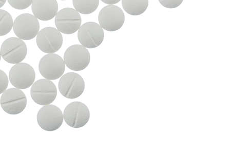 painkillers: white tablets, symbolic photo for medicines, remedies and painkillers