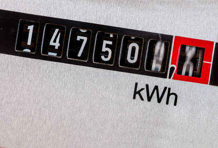 power meter: an electricity meter measures the electricity consumed. save symbolic photo for current price and current
