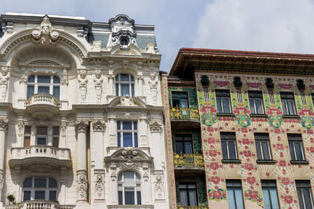 viennese: the viennese row houses at the viennese naschmarkt. architecture of otto wagner in vienna, austria