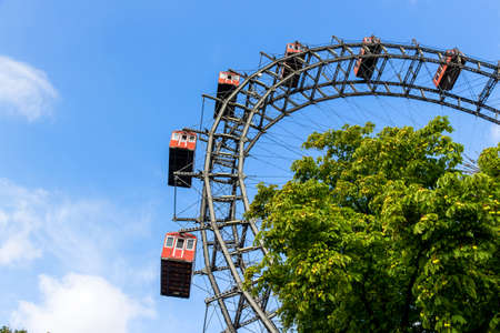 prater: one of the landmarks of vienna in austria is the riesenrad in the prater