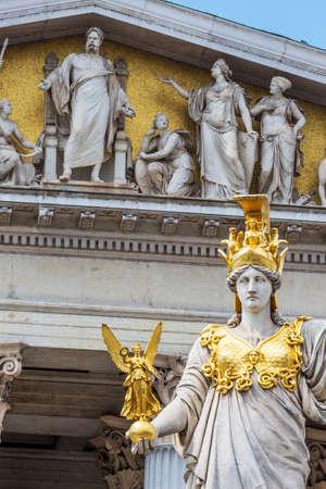 athene: parliament in vienna, austria. seat of government. statue of pallas athena, goddess of weiheit.