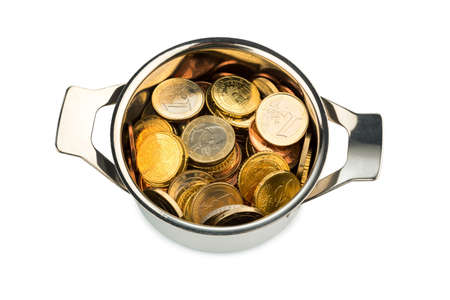 euro area: a cooking pot  filled with euro coins, symbolic photo for sovereign debt and financial requirements