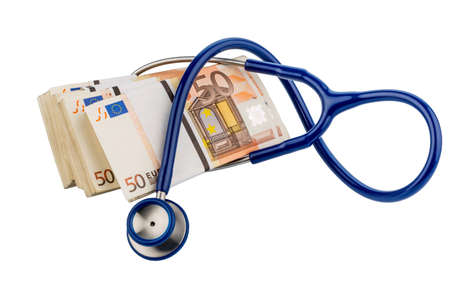 hedging: stethoscope and euro banknotes, symbolic photo for monetary union, stability and risks for the euro