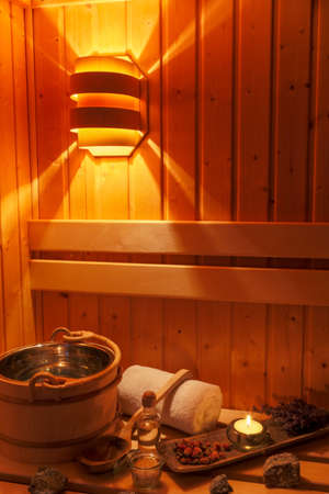 therapie: cozy atmosphere in the sauna at a spa area of a wellness hotel. recreation and relaxation from everyday life. Stock Photo