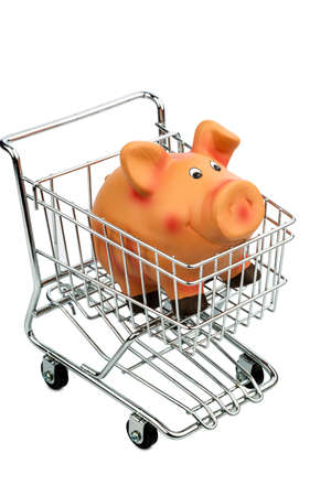 consumerist: a piggy bank in a shopping cart, photo icon for consumer prices and buying behavior Stock Photo
