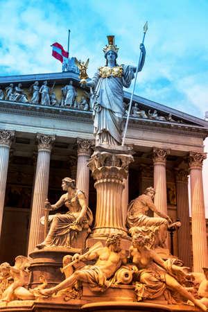 pallas: parliament in vienna, austria. seat of government. statue of pallas athena, goddess of weiheit.