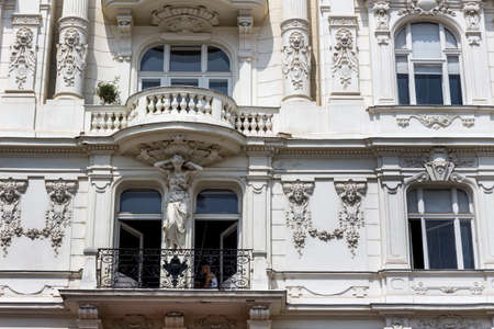 row of houses: the viennese row houses at the viennese naschmarkt. architecture of otto wagner in vienna, austria